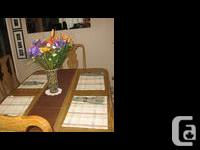Well built, solid white oak dining table with inlay