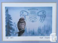 "Vintage Sue Coleman Tribal Lithograph ""The Owl"""