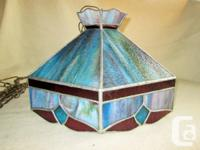 """Vintage """"Tiffany Style"""" STAIN GLASS HANGING SWAG LAMP."""