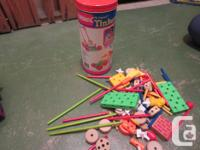 A tube of Tinker Toys Some Fuzzy Felt flannel graphs -