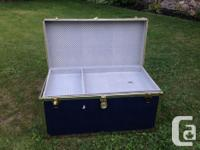 VINTAGE TRUNK $65.00 GOOD CONDITION HAS KEYS LEATHER
