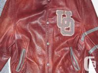 UNIVERSITY-STYLE LEATHER JACKET MAROON COLOUR - FULLY