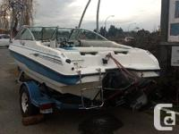 Boats in good shape Trailer has papers Wake board tower