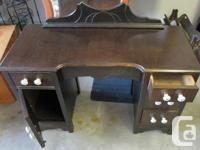 Walnut students desk or vanity. 4 drawers with single
