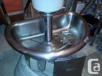 "Industrial Hand Clean Sink - 3 man 36"" SS tub c/w soap"