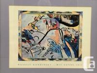 "Wassily Kandinsky Print ""Mit Sonne 1911"" Framed, Glass"