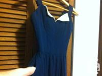 Very high-end 90's navy Wayne Clark evening gown. Worn