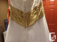 White with beige sash(built in) lace overlay with