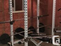 Selling as a set, PowerOne incline bench with rack and