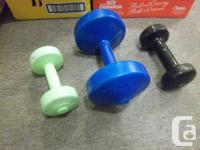 various weights for sale. Metal weights, 3 sets of 2 X