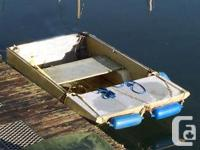 WELDED ALUMINUM FLAT BOTTOM DINGHY WITH TRAILER. VERY