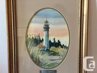 SIGNED WATERCOLOUR PAINTING OF THE WESTPORT LIGHTHOUSE
