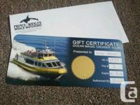 Selling two Whale Watching Tickets for 2 adults each