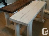 Rustic White washed Farmhouse Bench, great in the