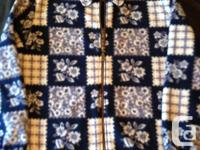 Size small but will fit medium. Blue and white, two