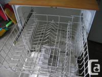 White GE portable dishwasher, works excellent, wooden