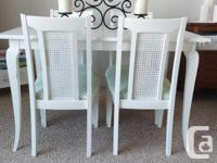 * White Dining Room Table Set with Four Chairs * Solid