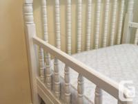 Good condition, white wooden toddler bed. Comes with a