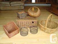 Whole Seven Piece Assortment of Wicker baskets, Wicker