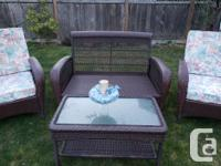 4-piece, 2 chairs, loveseat and coffee table. Just like