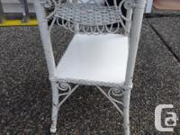 Antique white wicker table in good vintage condition