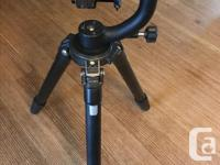 4 section carbon large tripod. Camera viewfinder sits