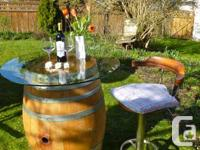 Beautiful oak wine barrels (barrels previously used at