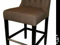 RV-5272 Wing Back Fabric Counter Stool in Brown   Wing