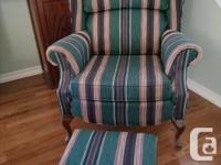 Gorgeous Canadian-made wingback chair and stool.