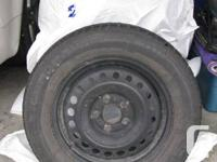 Winter tires on steel rims for sale. Tires are Uniroyal