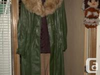 Lady's full length size 14 LEATHER coat, green in