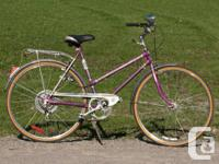 Beautiful purple woman's bike. Great for riding around