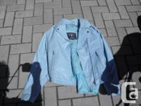 Womens Harley Barney's Motorcycle Jacket Blue Medium