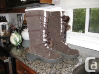 Women's Knee High Brown Winter Boots with Pom Pom