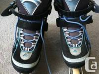 Womens Athena Blue and Black rollerblades, size 8.