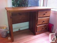 Strong wood workdesk for sale with 3 good sized