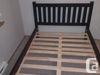 Solid pine wood bed frame. Espresso finish. LIKE BRAND