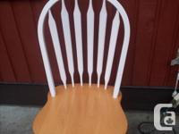 4 chairs - white as well as all-natural wood. Table