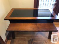 Elegant and simple wood desk with smoked glass insert,