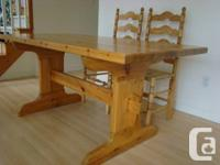 Pine Table & 4 Ladder Back chairs in Excellent