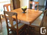 Solid timber dining table (most likely oak). Actions