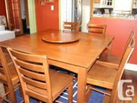 Wooden bar height dining table and eight matching
