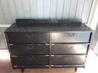 Wooden dresser black w/brass handles & 6 drawers.