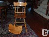 1) Solid wood high chair with metal hardware and safety