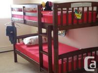 Wooden Bunk Bed WITHOUT cushion available for sale.