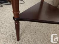 Wooden Round end table that converts into a triangle