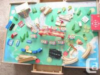 82+ Wooden Train Set Table, 2 drawers, comes with 28 pc