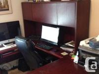 Wooden U-Shaped desk available, consisting of hutch and