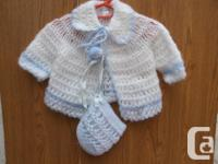 NEW crocheted blue & white Baby Boys 2pc Outfit, Jacket