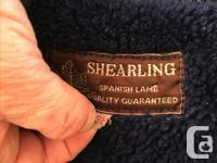 Blue Spanish lamb wool and suede coat, dry-cleaned